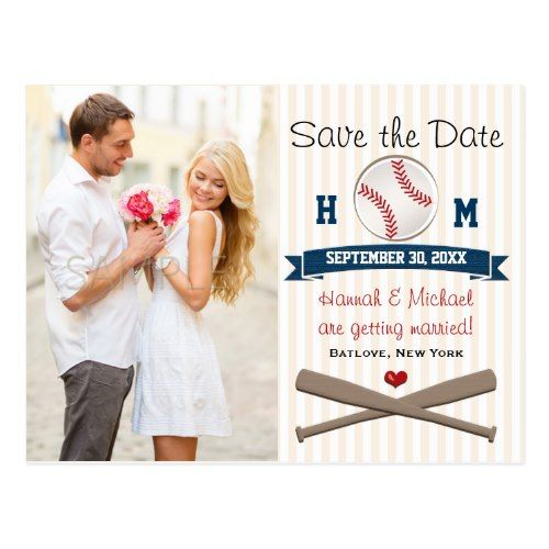Monogram Save the Date Wedding Cards Monogrammed Baseball Themed Save the Date Postcard