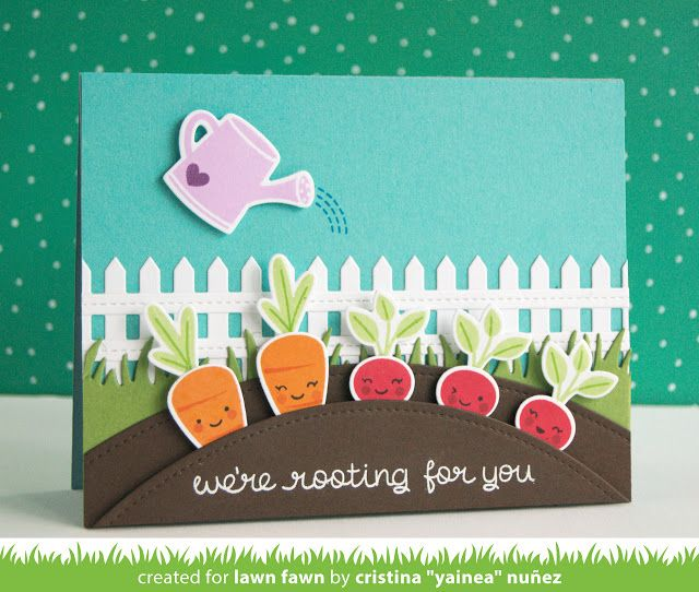 "the Lawn Fawn blog: Lawn Fawn Intro: Rooting for You & Picket Fence Border card by Cristina ""Yainea"" Nunez."