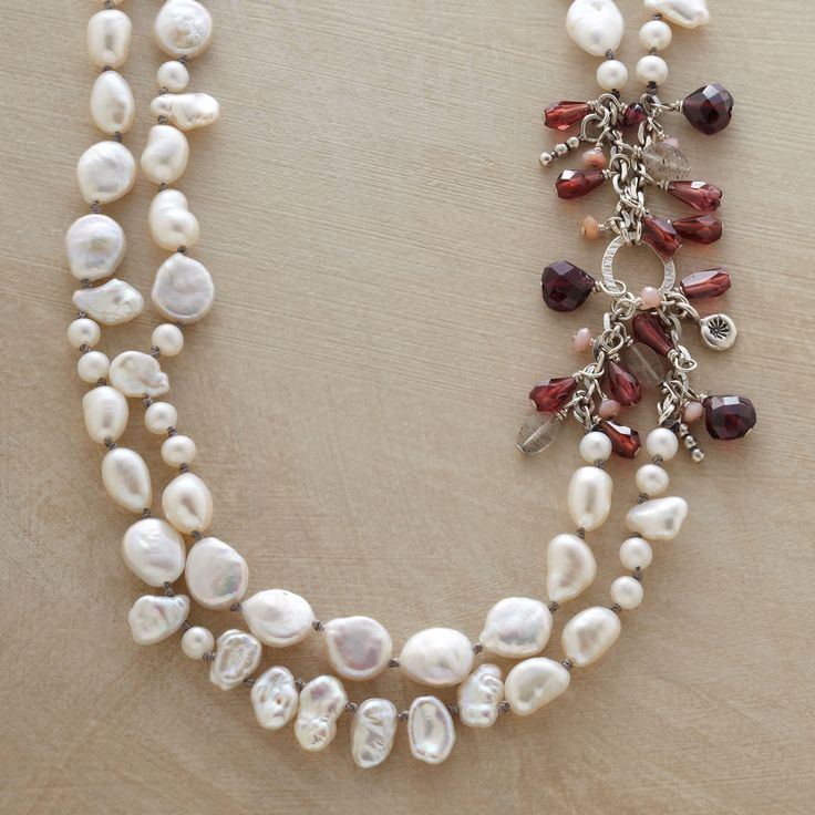 """PEARL MELANGE NECKLACE -- Cultured pearls—coin, Keshi, rice and potato—star in our double strand pearl necklace accented with garnets, labradorites and pink opals. Sterling silver toggle clasp. Handcrafted exclusively for Sundance. 17""""L."""