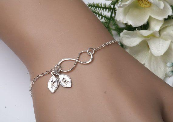 Infinity initial bracelet,leaf Initial bracelet,Two initial letter charm,Couple,infinity bracelet,sisterhood,customize birthstone,wedding via Etsy