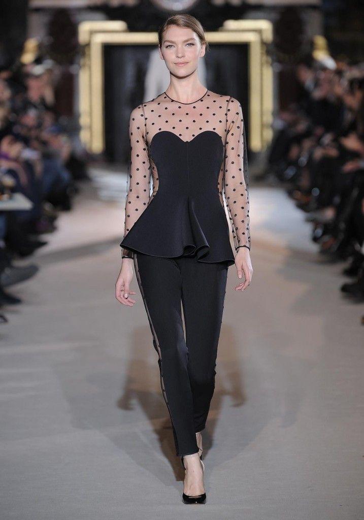 siyah benekli transparan elbise modelleri