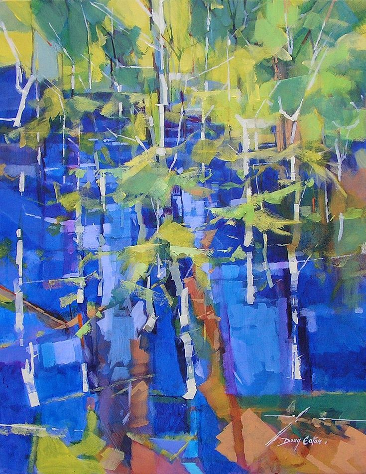 ARTFINDER: Bluebell Wood by Doug Eaton - Acrylic on canvas, semi abstract landscape painting   Ref: 009-066