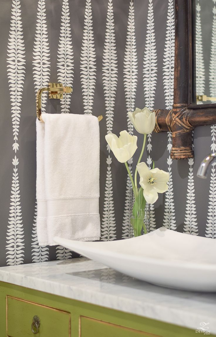 Contemporary roman shade in schumacher imperial trellis fabric by - 7 Tips For Designing A Beautiful Powder Bath A Powder Room Reveal Tour
