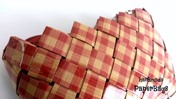 Handmade Red Checkered handbag made of paper by ThePaperBags