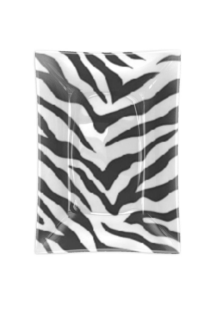 Längliche Glasschale – Zebra in Weiß von VIDA Original Artist   – Products