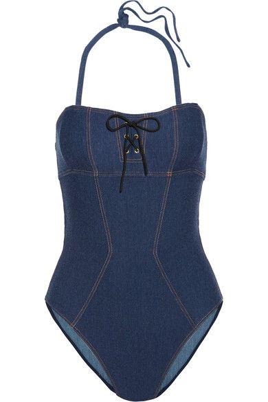 L'Agent by Agent Provocateur - Sophiia Lace-up Swimsuit - Mid denim - x large