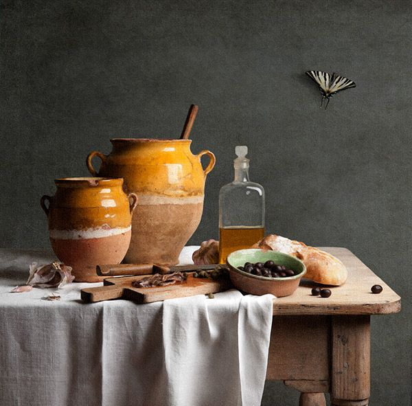 I have translated the traditional dishes from the Provence into a series of still life using only the ingredients . I think the ingredients that go into this dish have a beauty of their own and deserve to be seen.In the tradition of the Dutch masters f…