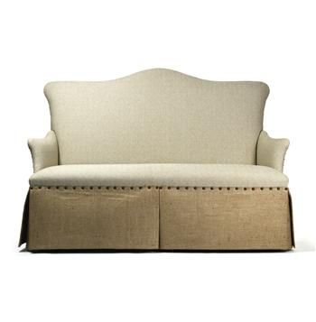 French Country Jute Linen Skirted Dining Settee Banquette Seat