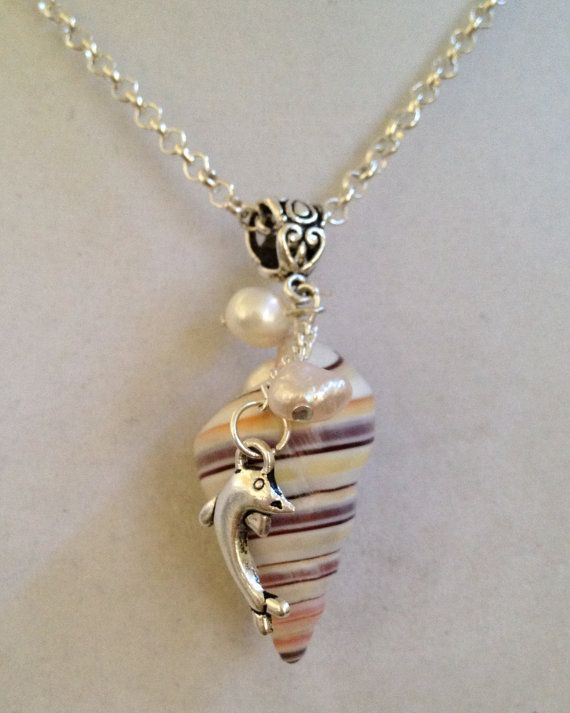 Shell and Pearl Necklace by joytoyou41 on Etsy, $30.00
