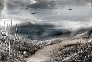 black and white path one of my encaustic art paintings