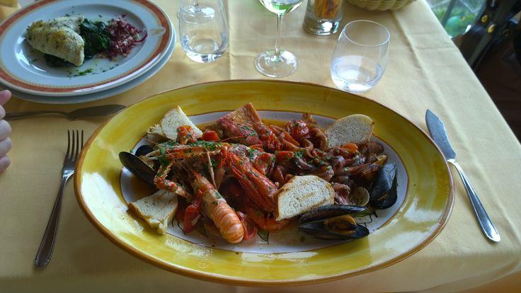 Zuppa Pescatora at Ristorante di Anticho Francischiello da Peppino, west of Sorrento, Italy