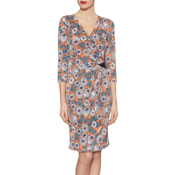 Gina Bacconi Flower Print Jersey Dress With Sequins, Orange ($235) ❤ liked on Polyvore featuring dresses, sequin maxi dress, jersey maxi dress, v-neck maxi dresses, floral midi dress and floral print maxi dress