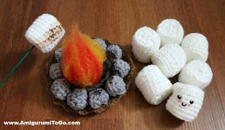 Roasting Marshmallow and Fire Pit, Amigurumi To Go, free crochet pattern, #haken, gratis patroon (Engels), marshmellows roosteren, #haakpatroon, barbeque, kampvuur, #haakpatroon