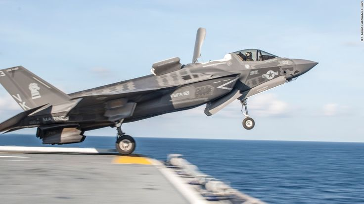 150525-N-JW440-066  ATLANTIC OCEAN (May 25, 2015) An F-35B Lightning II takes off from the flight deck of the amphibious assault ship USS Wasp (LHD 1). Wasp, with Marine Fighter Attack Squadron (VMFA) 121 and VMFAT-501 embarked, is underway conducting the first phase of operational testing which will evaluate the full spectrum of F-35B measures of suitability and effectiveness in an at-sea environment. (U.S. Navy photo by Mass Communication Specialist 3rd Class Rawad Madanat/Released)
