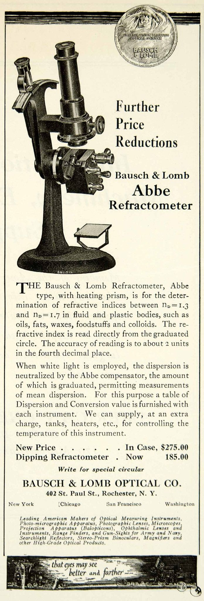 1922 Ad Bausch & Lomb Optical Abbe Refractometer Science Laboratory IEC2