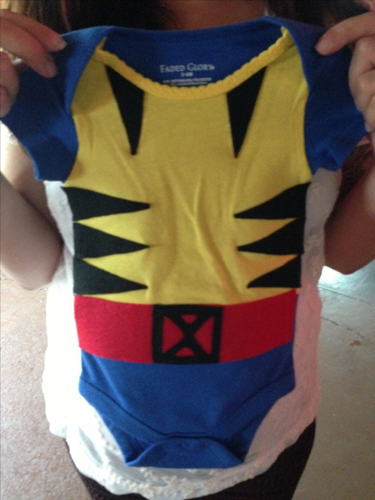 Handmade X-men Wolverine baby costume cosplay baby shower gift! His mom and dad loved it and I can't wait to see Baby Woodley in this!