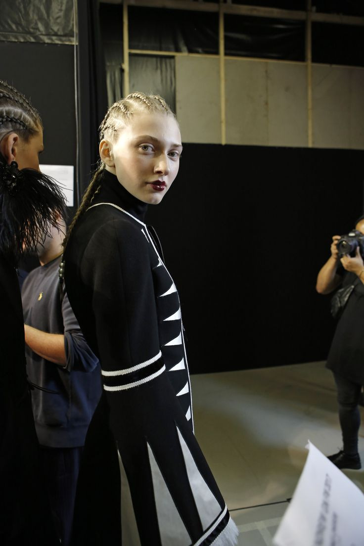 Maryna Polkanova (Silent Models) backstage at Andrew GN FW 17-18 Global Tribal runway show