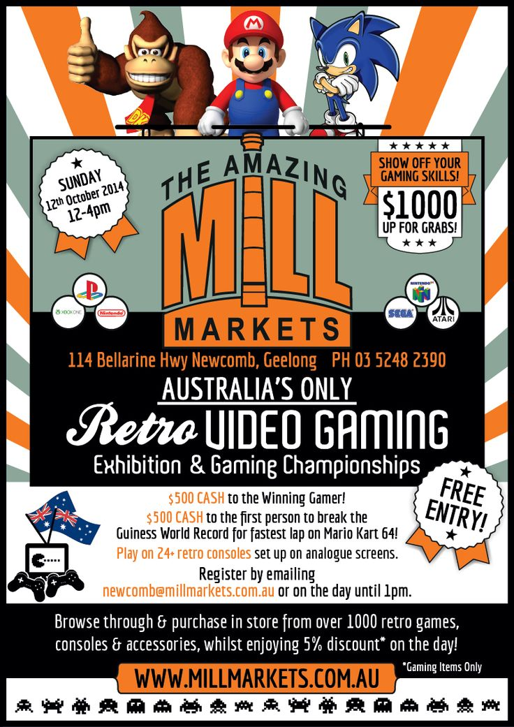 Our second Retro Gaming Championship and  Expo at Mill Markets Geelong - 12th October 2014