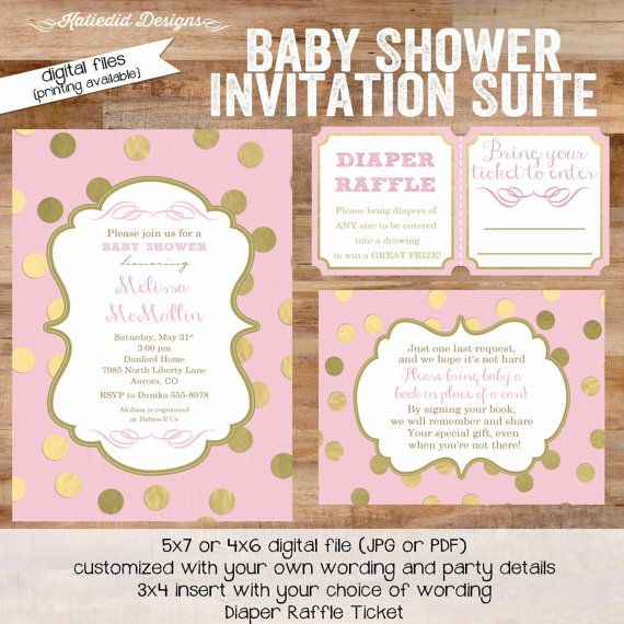 baby girl shower invitation pink gold gold polka by katiedidesigns