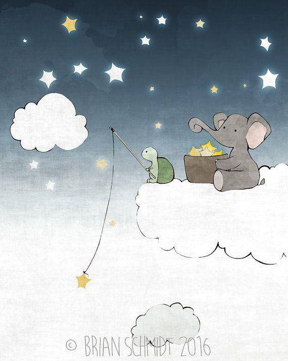 Pesca - elefante Star Star e disegno vivaio tartaruga, nuvole e stelle bambini camera Stampa artistica