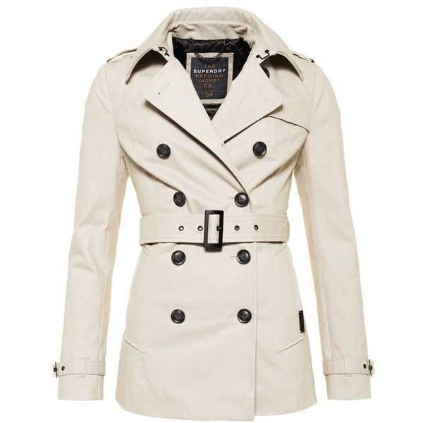 Superdry Winter Belle Trench Coat ($130) ❤ liked on Polyvore featuring outerwear, coats, beige, women, beige coat, superdry, trench coat, white coat and white trench coats