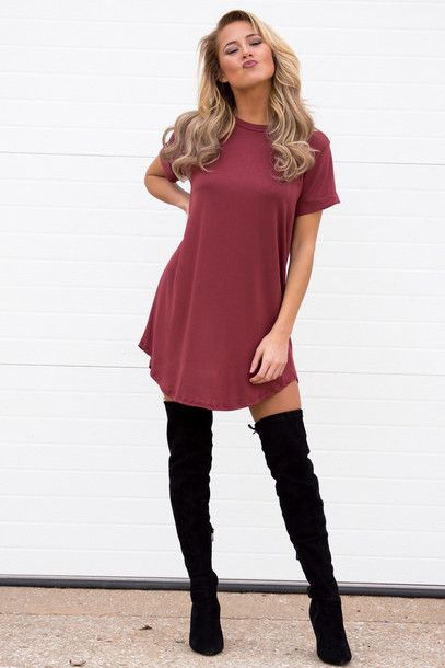 dress cute dress cute t-shirt t-shirt dress spring spring outfits outfit ootd trendy streetwear streetstyle thigh high boots love shoes