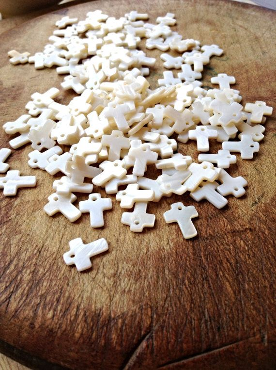 Mother of Pearl Cross Charms - 10 Teeny Tiny MOP or Shell Cross Charms - Assemblage BoHo Jewellery Art & Sewing Supplies