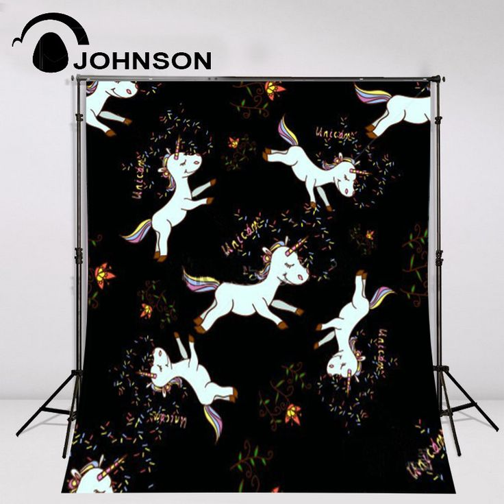 wholesale Baby Shower Rainbow Unicorn Party Birthday Black professional photo backdrops vinyl and Flannelette cloth Computer print children kids professional photography background