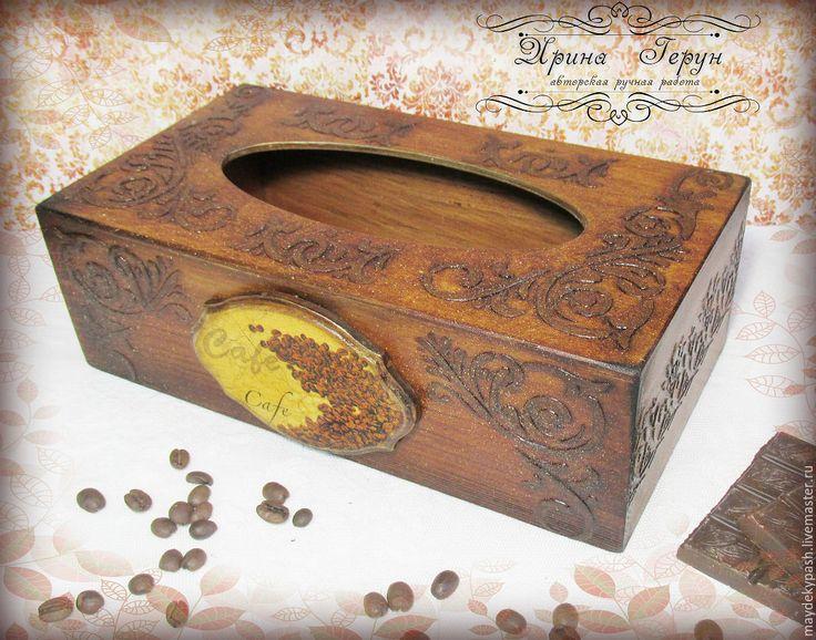 "Купить Салфетница  ""Coffee chocolate"" - коричневый, салфетница, салфетница ручной работы, салфетница из дерева"