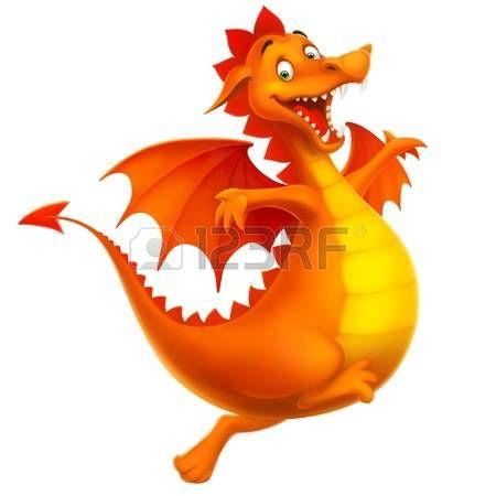 cartoon dragon: vektor, csinos, mosolygós, boldog, sárkány, mint rajzfilm vagy játék elszigetelt fehér