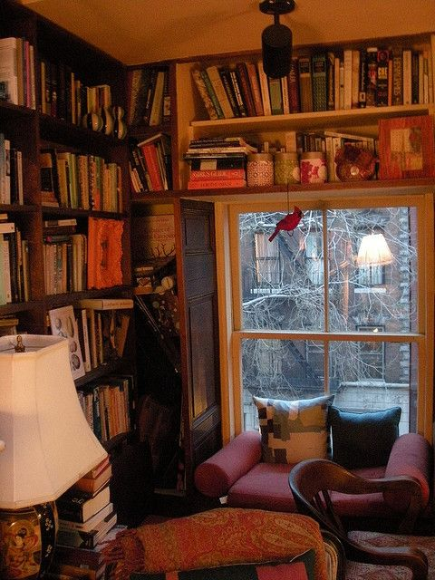 A cozy book nook with bookshelves over the window #literarydecor