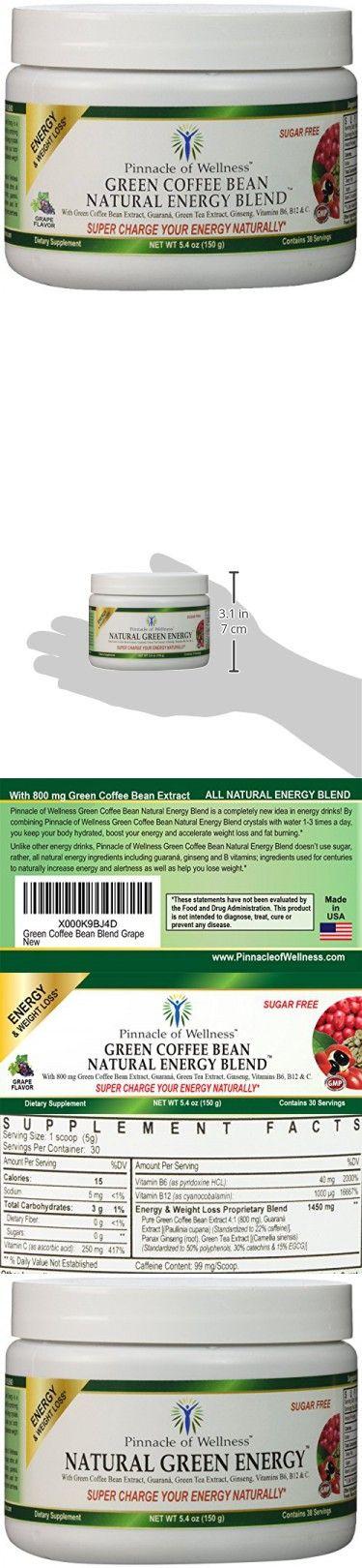 Pinnacle of Wellness Natural Green Energy Powder  Grape Flavor  30 Servings  5.4oz (150g)  With Pure Green Coffee Bean Extract 800mg - Green Tea Leaf  Asian Ginseng Root & Guaran Seed - Vitamin C - B6 & B12 - Sugar Free Drink Mix