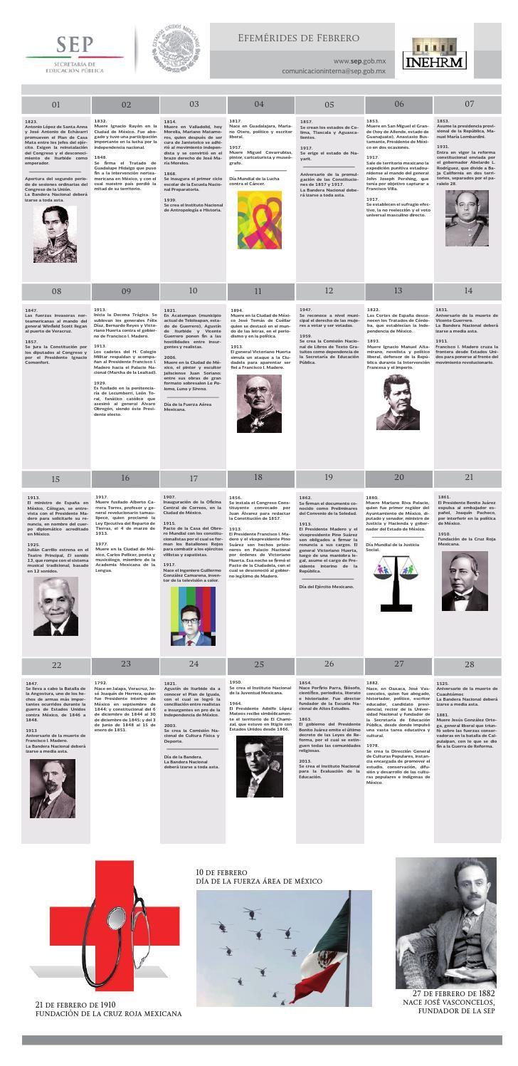 EFEMÉRIDES DE FEBRERO INEHRM SEP  Efemérides de Febrero en México, publicación realizada por el Instituto Nacional de Estudios Históricos de las Revoluciones de México (INEHRM) dependiente de la Secretaría de  Educación Pública (SEP).