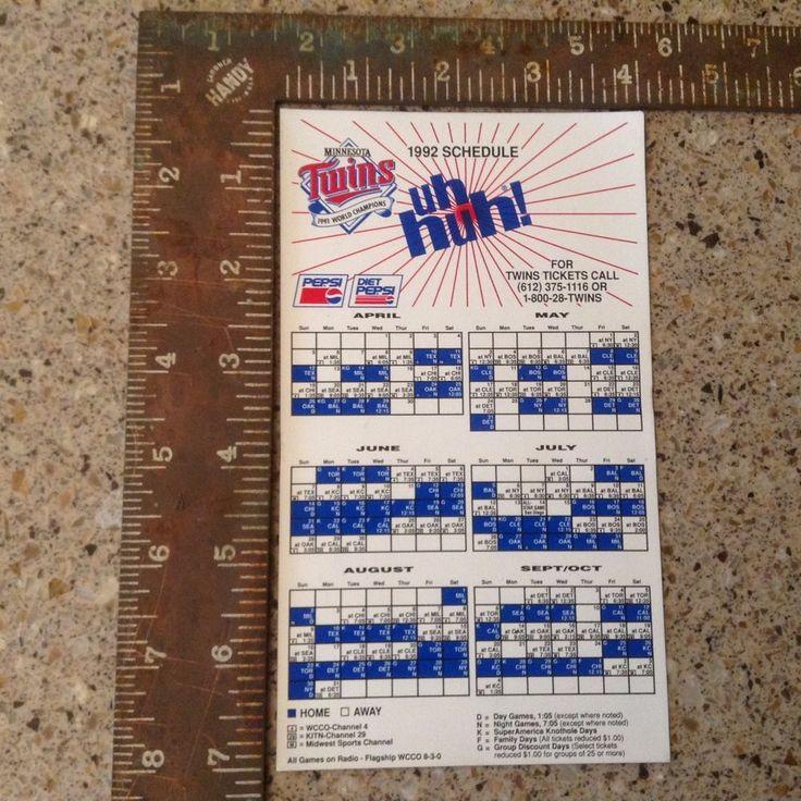1992 Minnesota Twins SGA Stadium Giveaway Fridge Magnet Schedule  #MinnesotaTwins