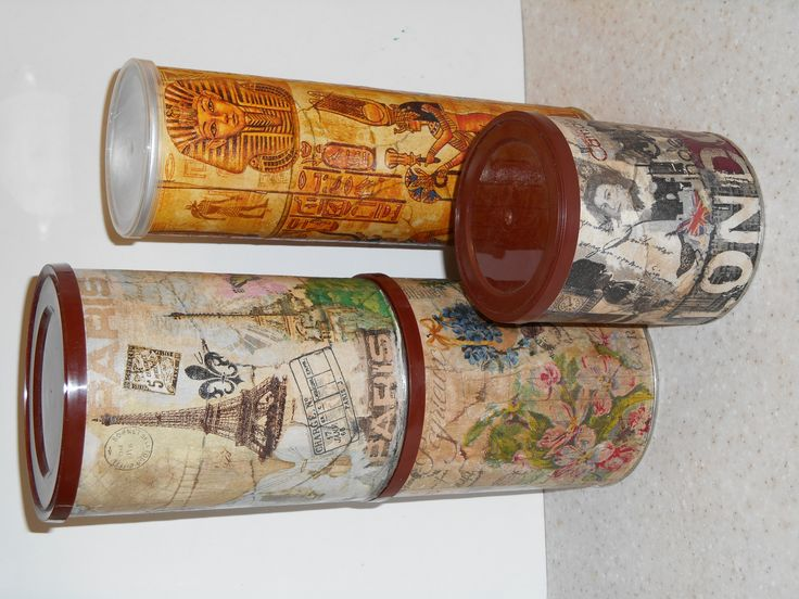 Coffee and Pringles boxes transformed using magazine page pieces and decoupage