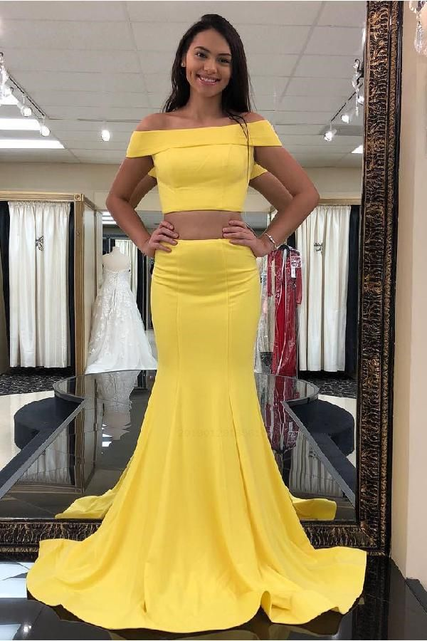 Cheap Suitable Prom Dresses Long Two Piece Off The Shoulder Yellow Mermaid Long Prom Dress Yellow Prom Dress, Prom Dress Long, Prom Dresses, Prom Dress Two Piece, Prom Dress 2019