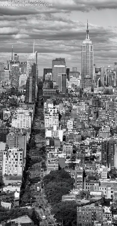 Panoramic cityscape of manhattan from soho vertical bw fine art photo by andrew prokos
