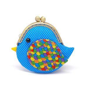 Bolso de embrague océano lindo pájaro azul
