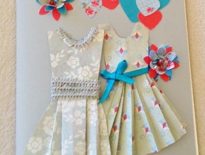 Engagment or Wedding congratulations: two dresses (silver green, turquoise, scarlet) http://felt.co.nz/listing/178122/Engagment-or-Wedding-congratulations--two-dresses-silver-green-turquoise-scarlet