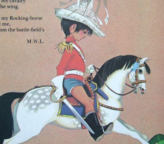 Bambino ragazzo Nursery Wall Decor Vintage 70s libro Page Arte Illustrazione cavallo a dondolo Decor