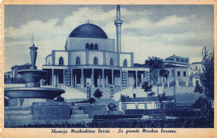 The Grand Mosque of Durrës, Albania, built in 1938 and destroyed in good part by the communists on 6 February 1967.
