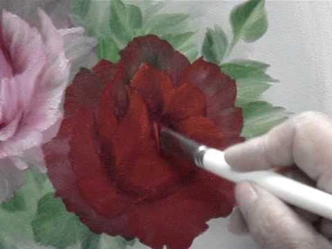 hoe schilder je een roos met olieverf NO3 Red Rose Oil Painting