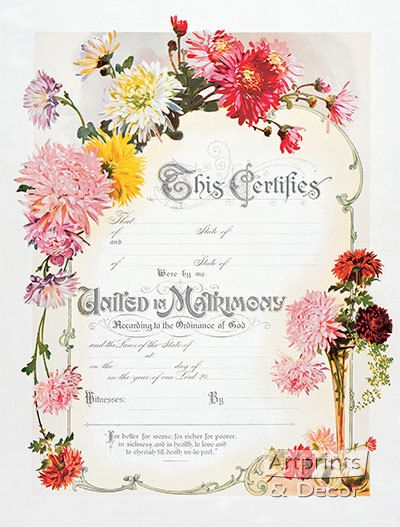 Chrysanthemum Marriage Certificate, Art Print. Love Your Art and Own It! Shop high quality art prints, framed art and art posters at ArtPrintsAndDecor.com. Printed in the USA with 100% guaranteed satisfaction.