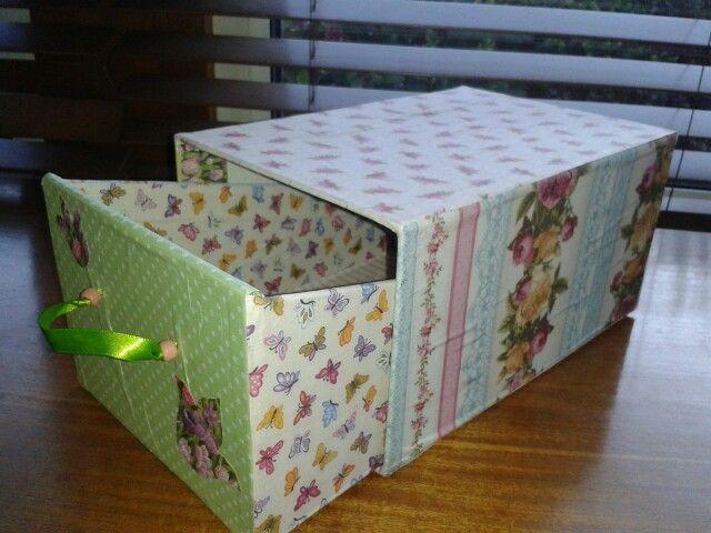 Upcycled card file box.