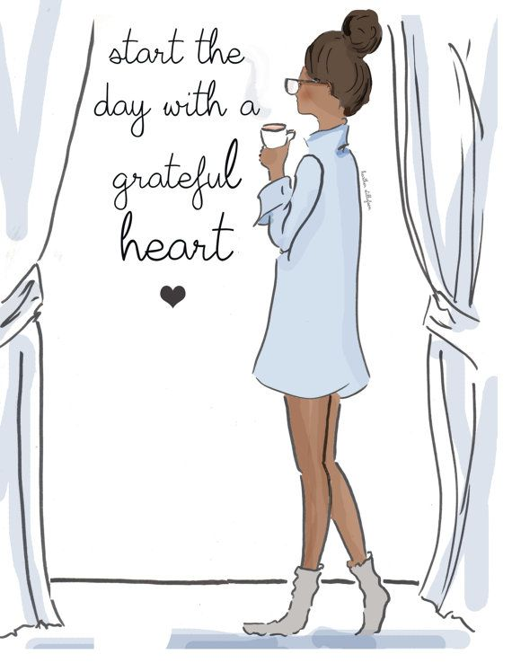 Wall Art – Art for Women – Grateful Heart – Scoks and Shirts Fashion Illustration – – Art for Women – Inspirational Art