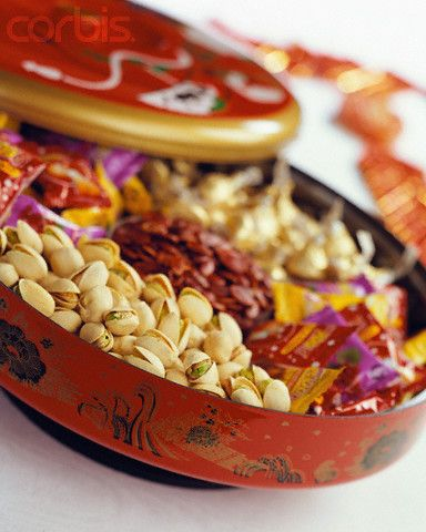 chinese new year candy box.....also known as a tray of togetherness or prosperity box is usually a round platter with eight compartments filled with interesting variety of snacks, to share with family and friends. Each of the eight items in the tray of togetherness has symbolic meaning meant to insure a prosperous new year....  #chinee new year, #fengshu http://patricialee.me