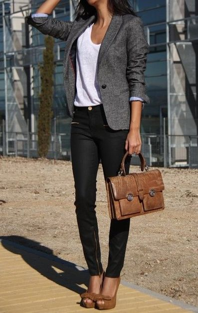 Business casual work outfit. Grey blazer, white top and black skinnies, with brown accents.