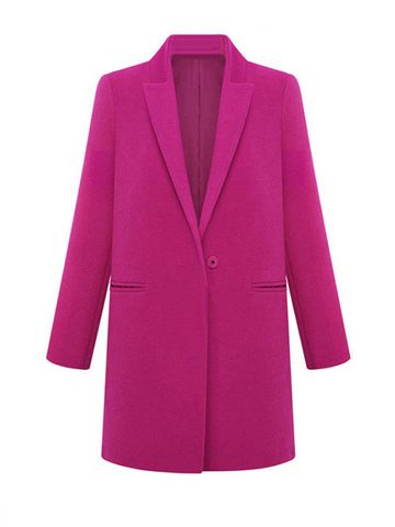 Solid Mandarin Collar Long Sleeve Cashmere Coat