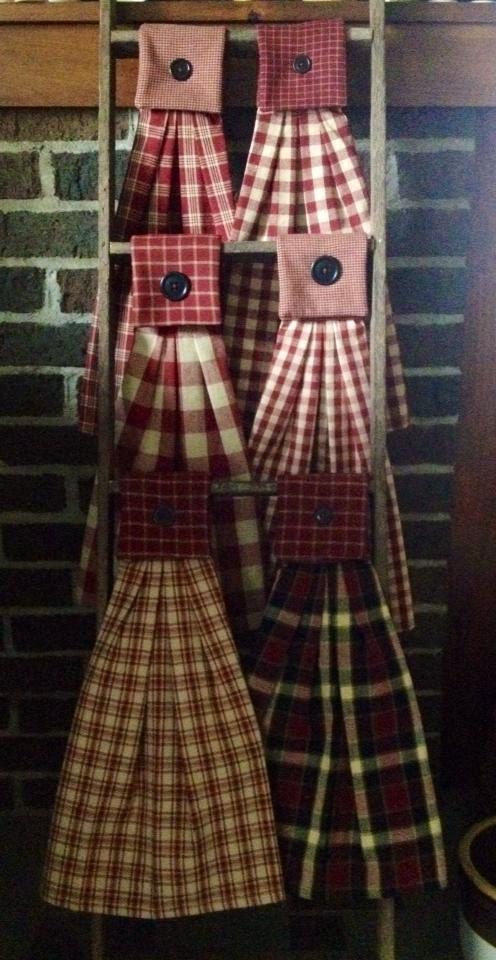 Homespun Hanging Tea / Dish Towel Country by floweringfelts, $8.95