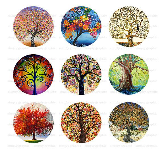 Tree of Life, Abstract Tree Painting, Digital Collage Sheet, 1 inch Circle Image Download, Bottlecap Images, Pendant, Cabochons s205
